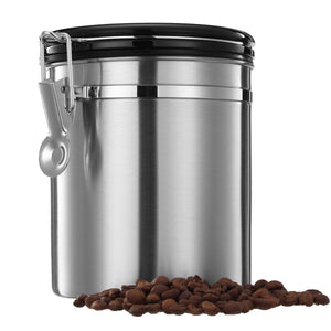 1.5L Silver Stainless Steel Sealed Coffee Bean Tea Storage Canister Kitchen Storage Container