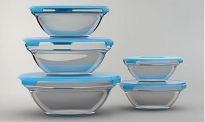 Set of 5 Glass Food Storage Containers - 4 Colours