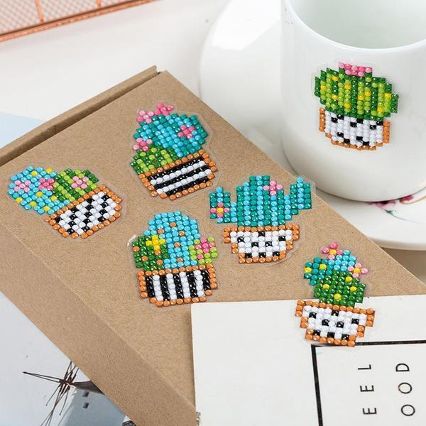 Cute Cactus Stickers (6 Pack) - 5D Diamond Painting