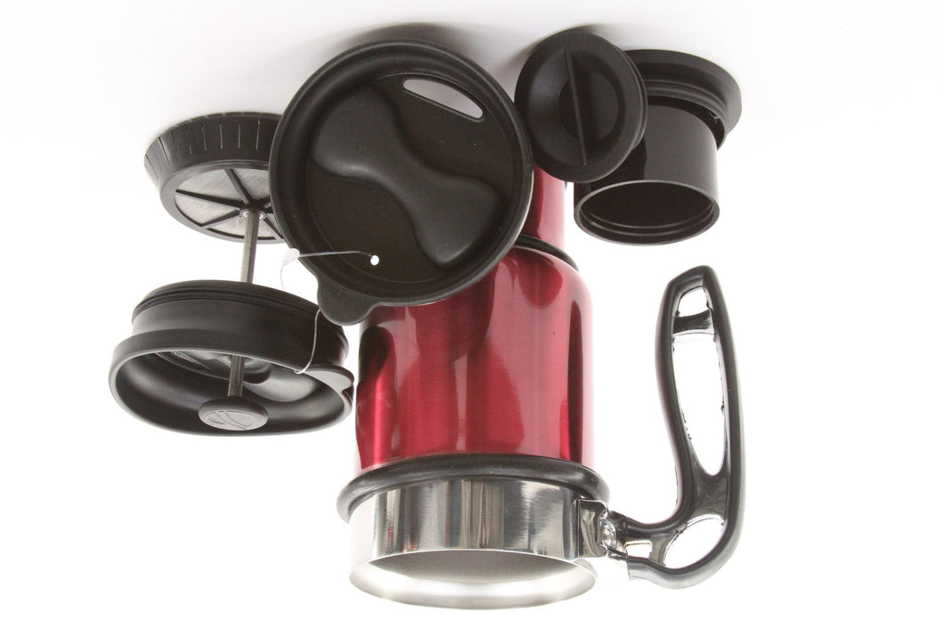 Planetary Design Double Shot Travel French Press Mug (14 oz) Red