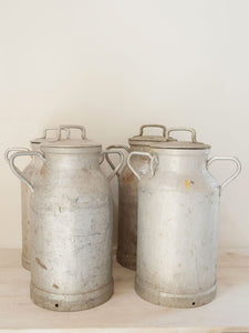 Vintage French Nestle Aluminium Lidded Milk Churns