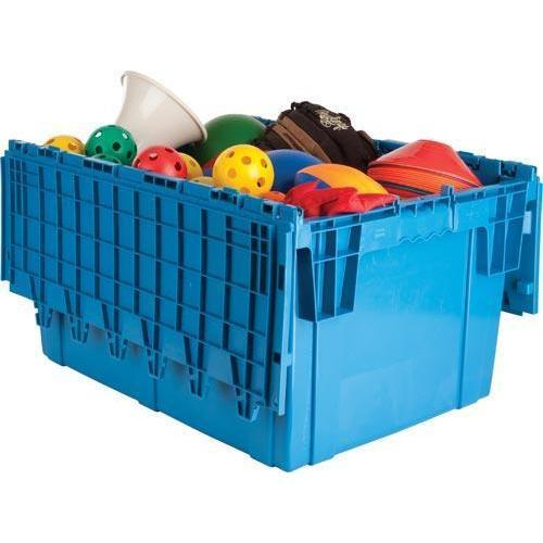 Premium Heavy-Duty Attached Lid Container - Blue
