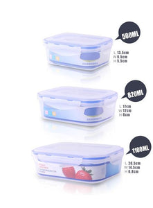 Set of 3 PCS Plastic Kitchen Storage Boxes Lunch Boxs Airtight Seal Food Storage Container Fruit Cereals Grains Box with Lid