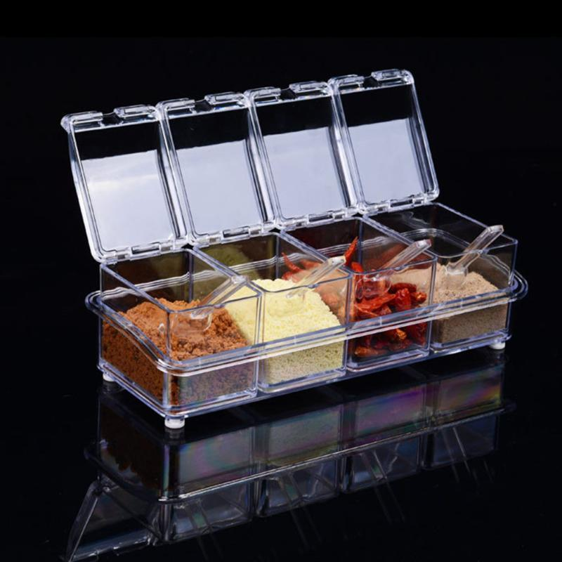 4 Lattices Clear Seasoning Rack Spice Pots Spice Jar Seasoning Can Sugar Bowl Seasonings Storage Container Case