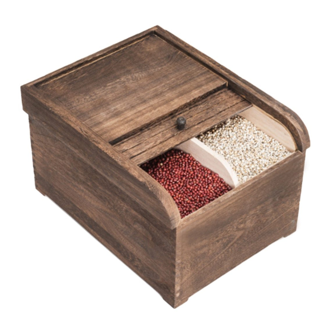Shutter Style Grain Storage Wood Container