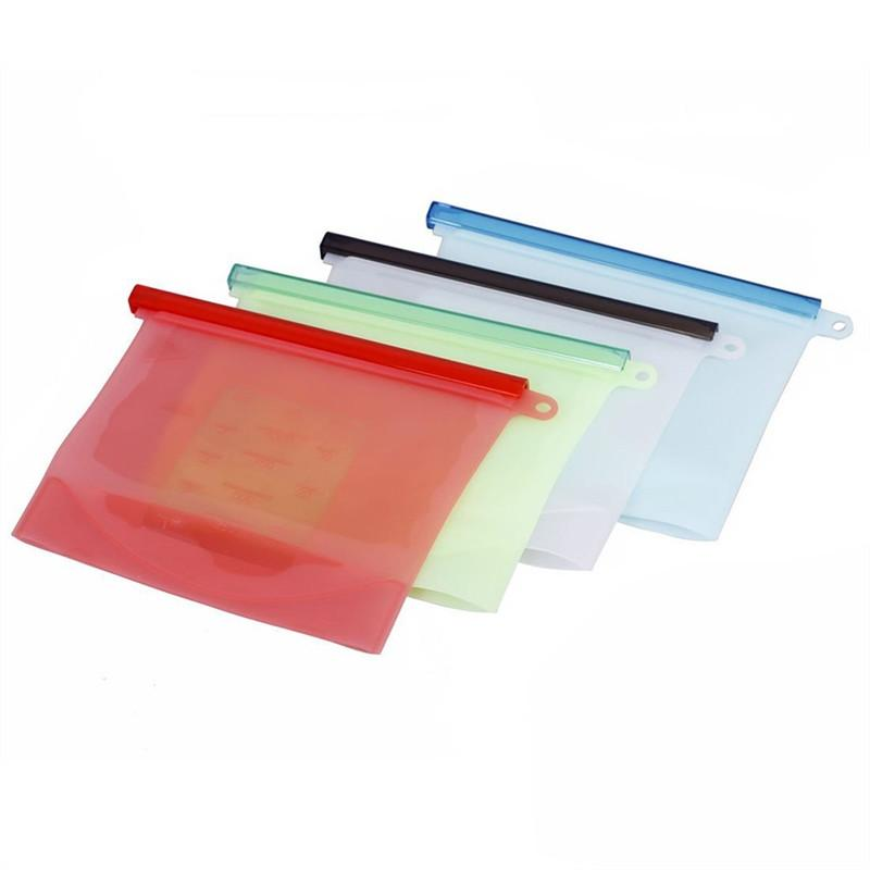 4PCS Reusable Silicone Food Preservation Bag Airtight Seal Food Storage Container Versatile Cooking Bag for Fruits Vegetables Meat