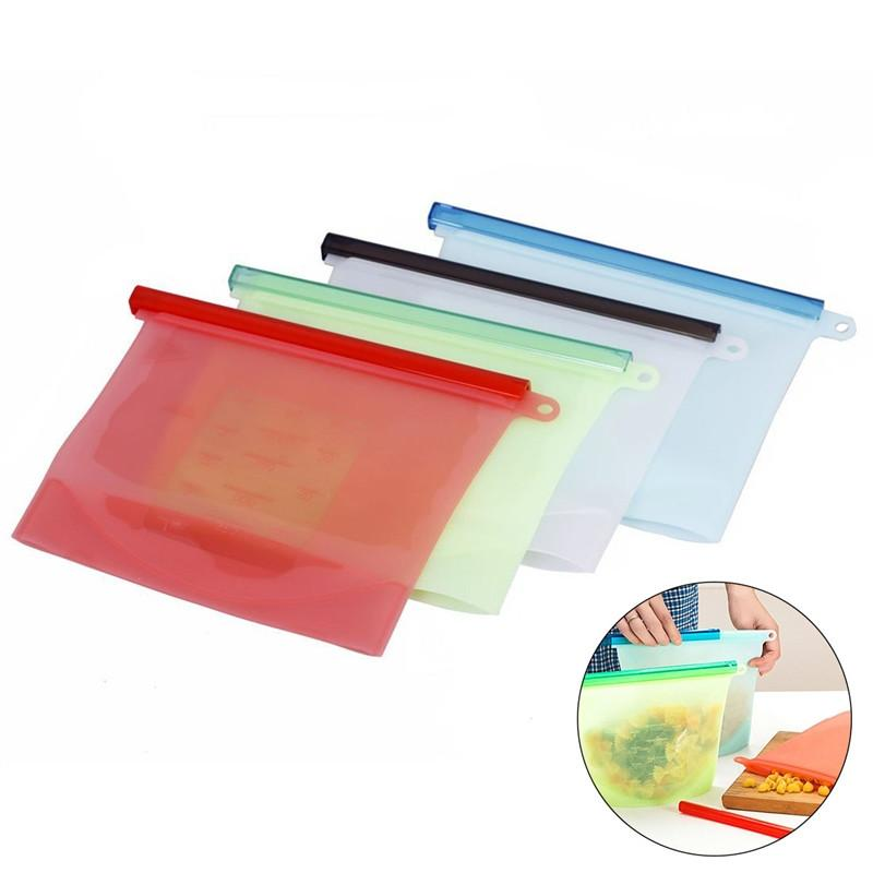 4PCS Reusable Silicone Food Preservation Bag Airtight Seal Food Storage Container Versatile Cooking Bag Kitchen Cooking Utensil (White, Red, Green, Blue)