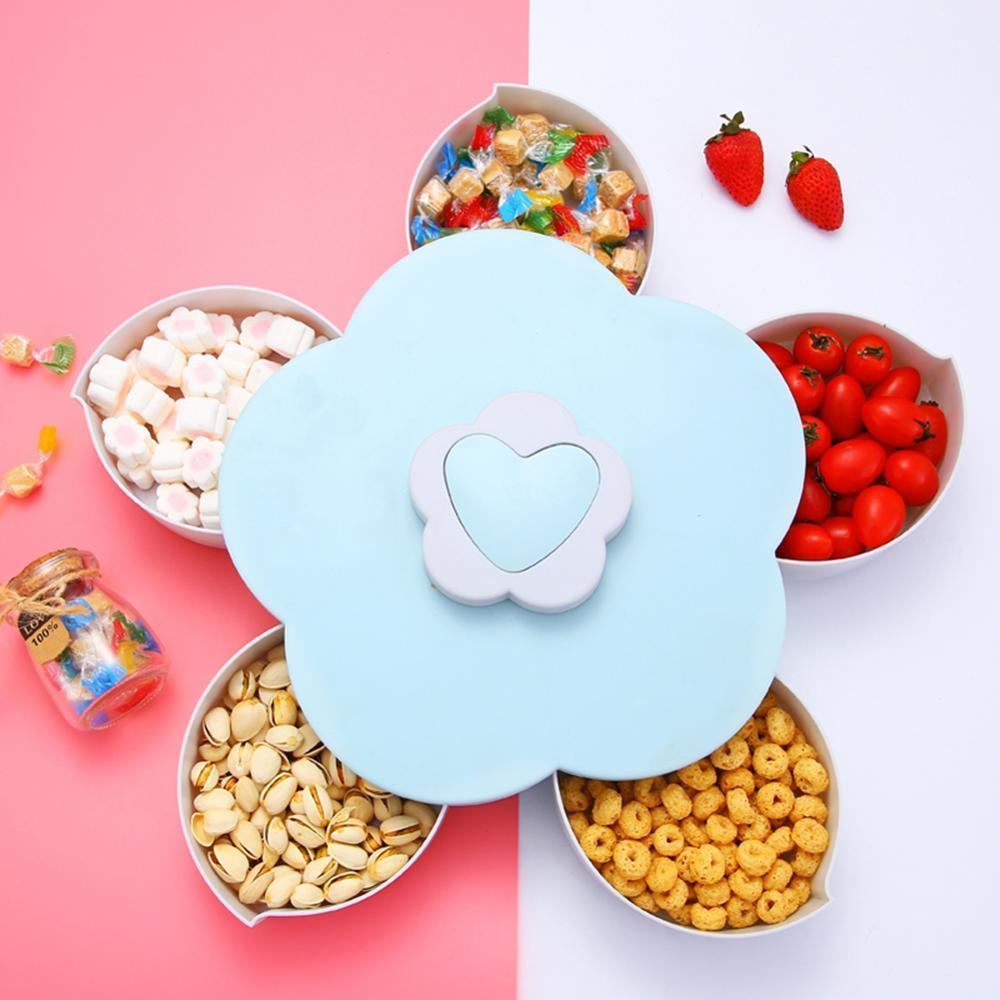 Rotating Food Storage Organizer Box - Flower Bloom Design Candy Nut Snack Serving Tray