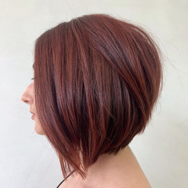textured angled bob hairstyle straight