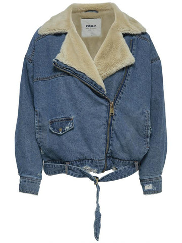 denim moto jacket avec sherpa 15158528