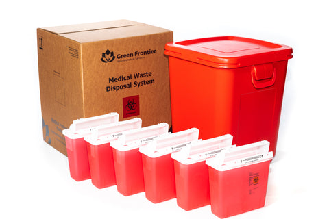 28 Gallon Sharps and Medical Waste Disposal Kit with 6-5 Quart Covidien Sharps Containers