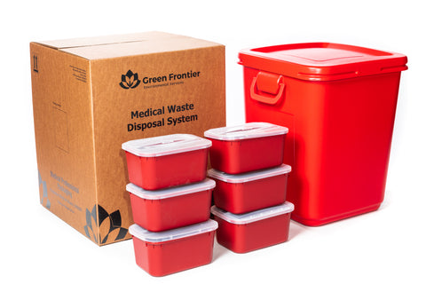 28 Gallon Sharps and Medical Waste Disposal Kit with 6-1 Gallon Sharps Containers