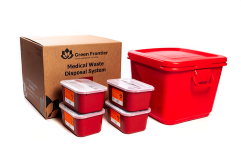 18 Gallon Sharps and Regulated Medical Waste Mailback Kit with 4-1 gallon sharps containers