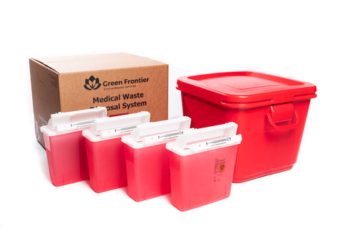 18 Gallon Sharps and Regulated Medical Waste Mailback Kit with 4 5 quart covidien sharps containers