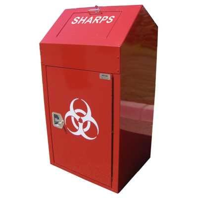 INDOOR SHARPS DISPOSAL KIOSK, SQUARE, 38 GALLONS - MW01-S
