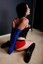 Load image into Gallery viewer, Gwendoline Lacing Armbinder / Monoglove in Blue / White / Red