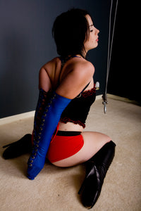 Gwendoline Lacing Armbinder / Monoglove in Blue / White / Red