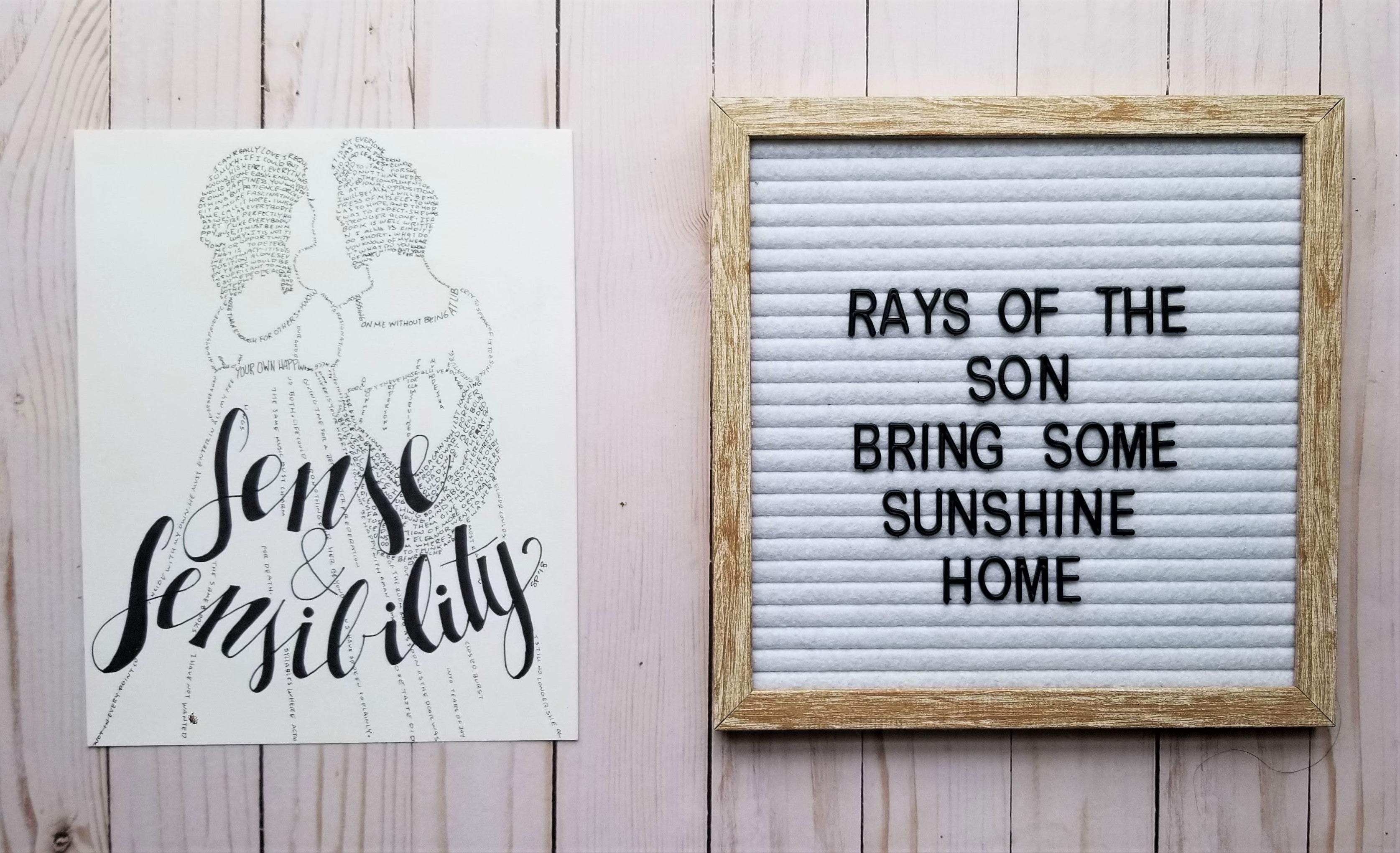 Sense and Sensibility Word Art - Rays of the Son