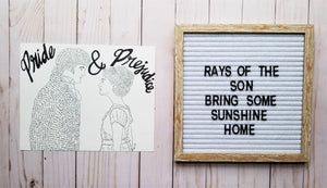 Pride and Prejudice Word Art - Rays of the Son