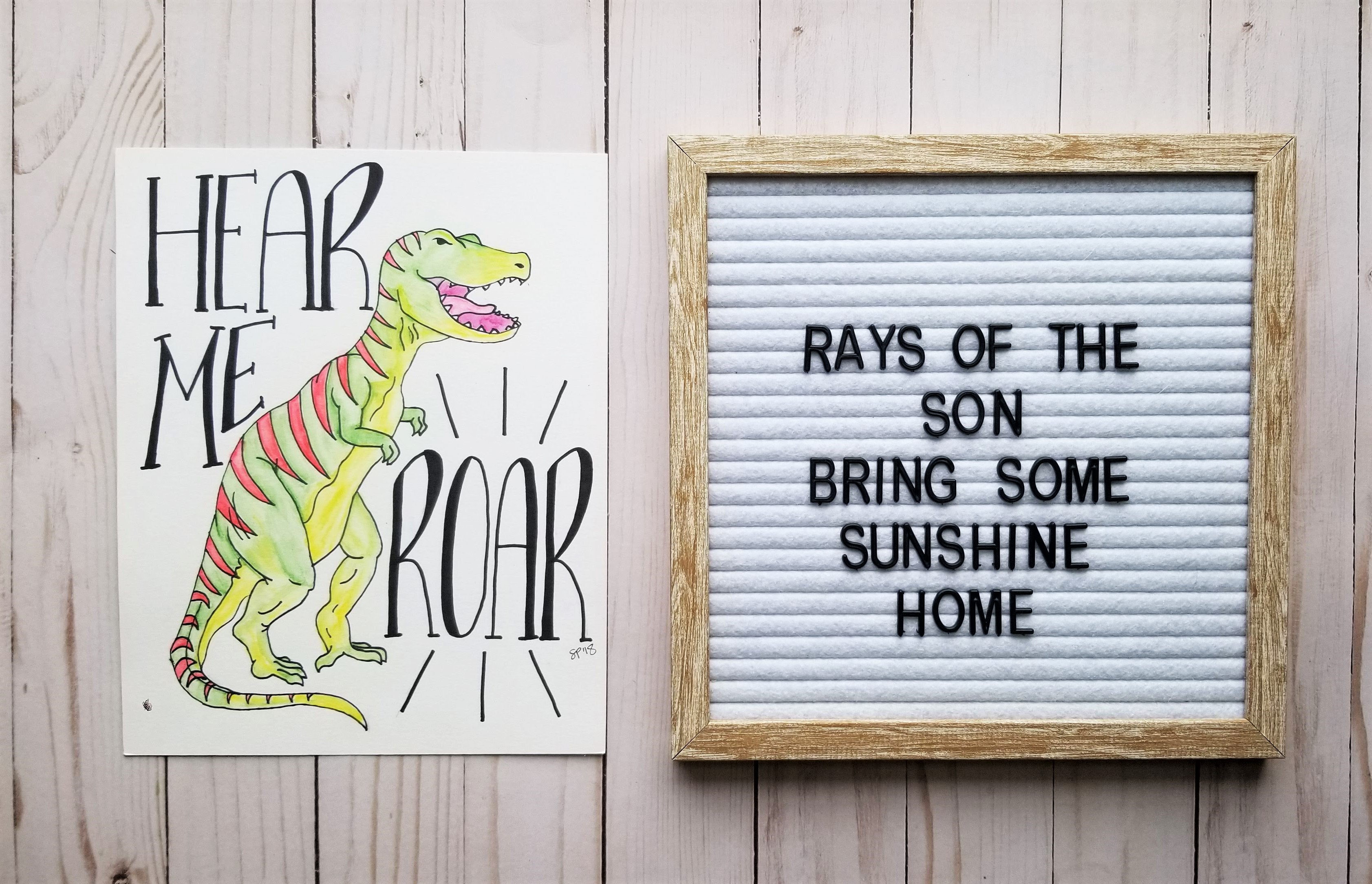 Hear Me Roar Dinosaur Typography - Rays of the Son