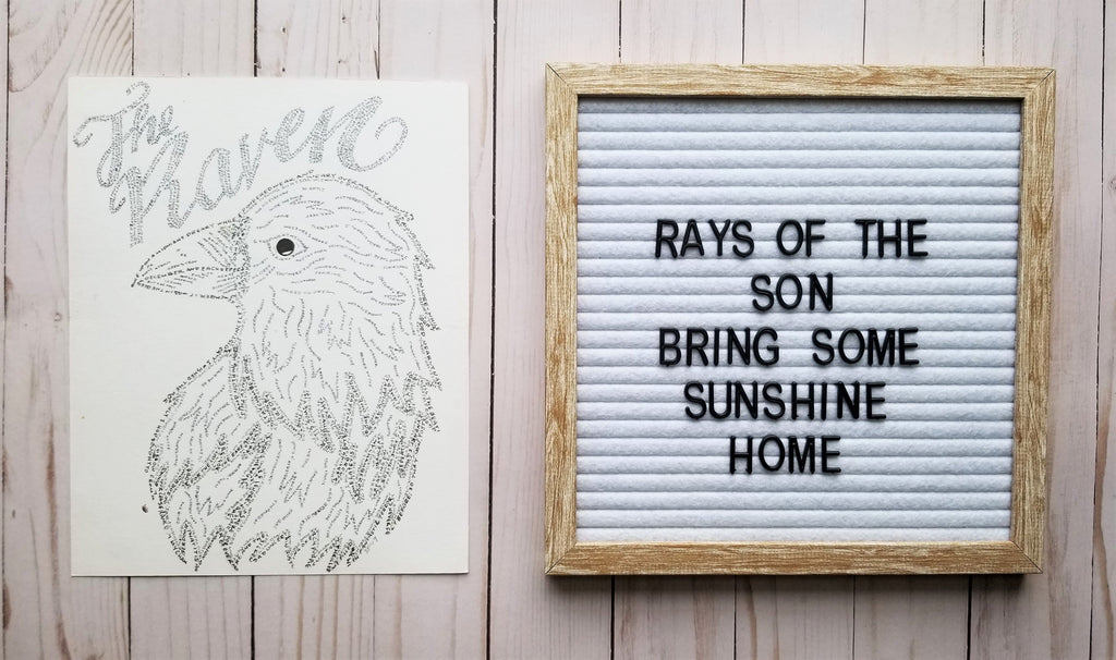 The Raven Hand Lettered Word Art - Rays of the Son