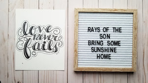 Love Never Fails Typography - Rays of the Son