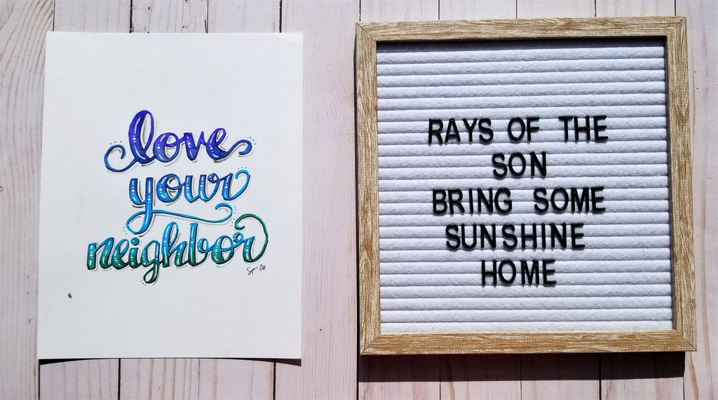 Love Your Neighbor Typography - Rays of the Son