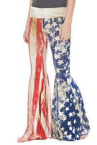 Red, White, and Blue Yoga Pants with Stars and Stripes by T-Party. Made in America
