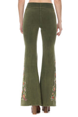 T-Party Floral Embroidered Bell Bottom Flare Leg Yoga Pants Olive