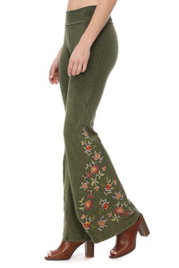 Olive Green Yoga Pants with Wide Bell Bottom Flare by T-Party. Proudly made in USA