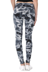 T-Party Yoga Leggings with Black White Crystal Tie Die