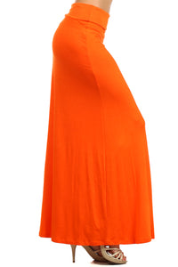 Solid Color Banded Waist Maxi Skirt