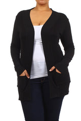Plus Size Square Cut Soft Knit Long Sleeve Cardigan