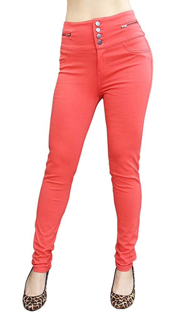 Solid Color Button Front High Waist Skinny Jeans