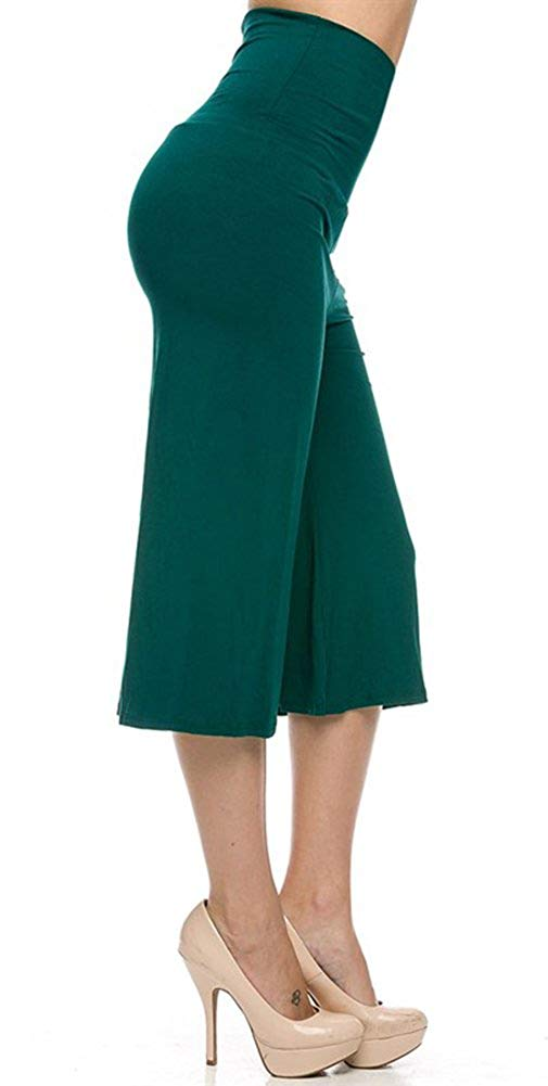 High Waist Solid Color Cropped Gaucho Pants