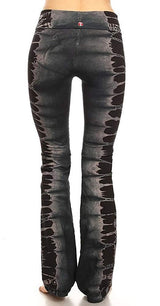 T-Party Black and Grey Blocked Stripe Tie Dye Yoga Pants