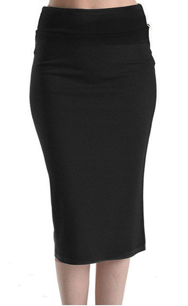 Below The Knee High Waist Midi Pencil Skirt