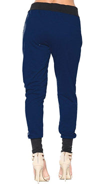 Solid Color Zipper Pockets Cuffed Jogger Pants