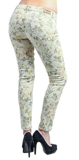 Floral Print Skinny Jeans Light Green