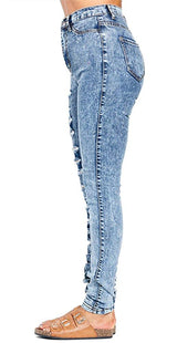 Destroyed Denim High Waist Acid Wash Skinny Jeans