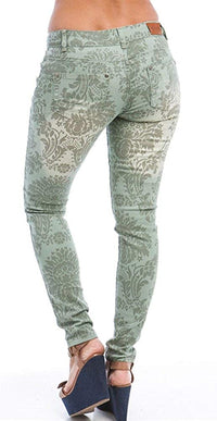 FREE CULTURE Junior's Floral Baroque Print Skinny Jeans Green