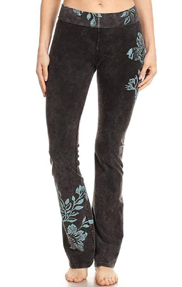 T-Party Yoga Pants with Blue Floral Design