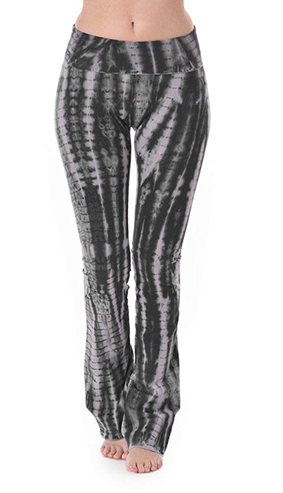 T-Party Black Bamboo Pattern Tie Dye Yoga Pants