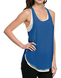 Two-Tone Layered Semi Sheer Chiffon Jersey Tank Top