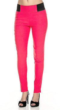 New Kathy Women's Basic Stretch Fit Skiny Pants Ponte Leggings (M/L, Coral)