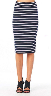 Striped High Waist Vintage Style Midi Length Pencil Skirt