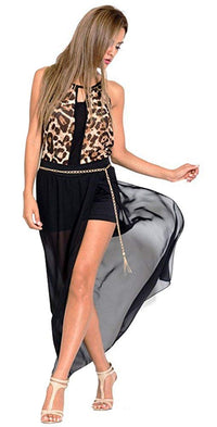 Semi-Sheer High Slit Maxi Skirt and Chain Belt