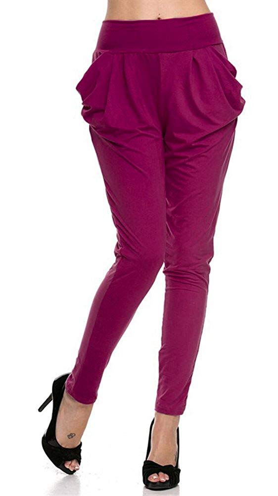 Solid Color Soft Drape Pocket Harem Pants