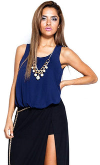 Women's Faux Pearl Necklace Keyhole Chiffon Blouse