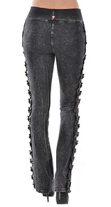 T-Party Elegant Lace Roses Mineral Wash Yoga Pants